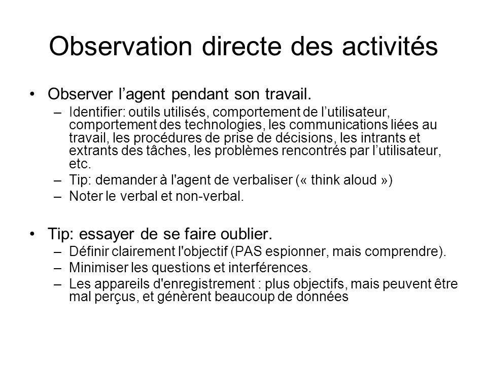 Observation directe des activités Observer lagent pendant son travail. –Identifier: outils utilisés, comportement de lutilisateur, comportement des te