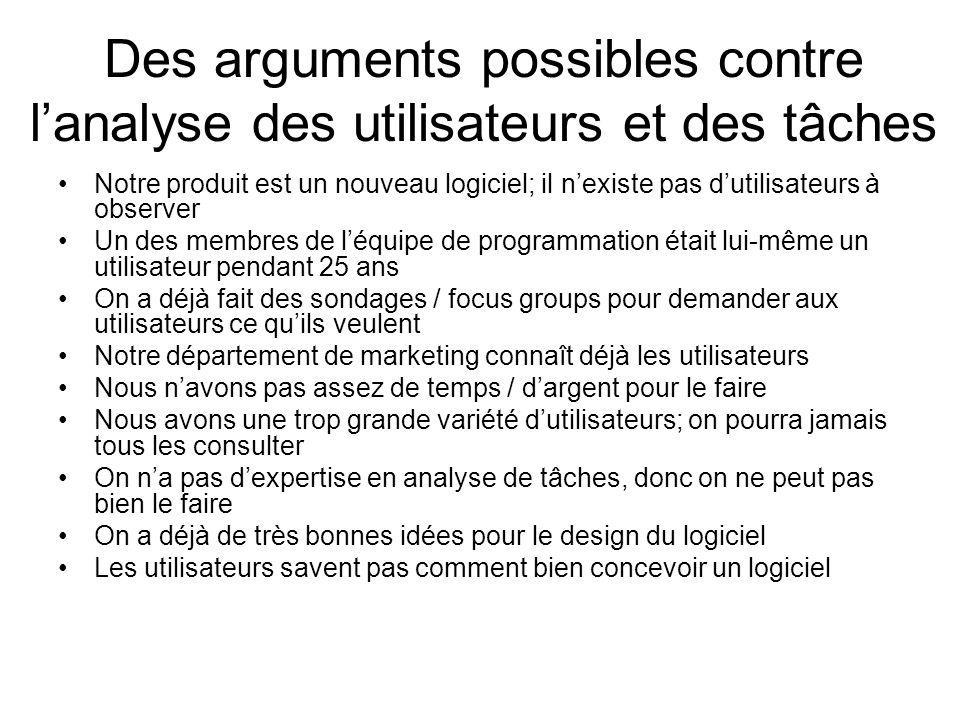 Des arguments possibles contre lanalyse des utilisateurs et des tâches Notre produit est un nouveau logiciel; il nexiste pas dutilisateurs à observer
