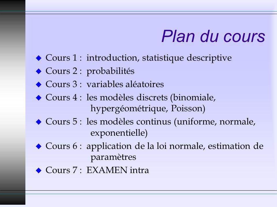 Plan du cours u Cours 1 : introduction, statistique descriptive u Cours 2 : probabilités u Cours 3 : variables aléatoires u Cours 4 : les modèles discrets (binomiale, hypergéométrique, Poisson) u Cours 5 : les modèles continus (uniforme, normale, exponentielle) u Cours 6 : application de la loi normale, estimation de paramètres u Cours 7 : EXAMEN intra