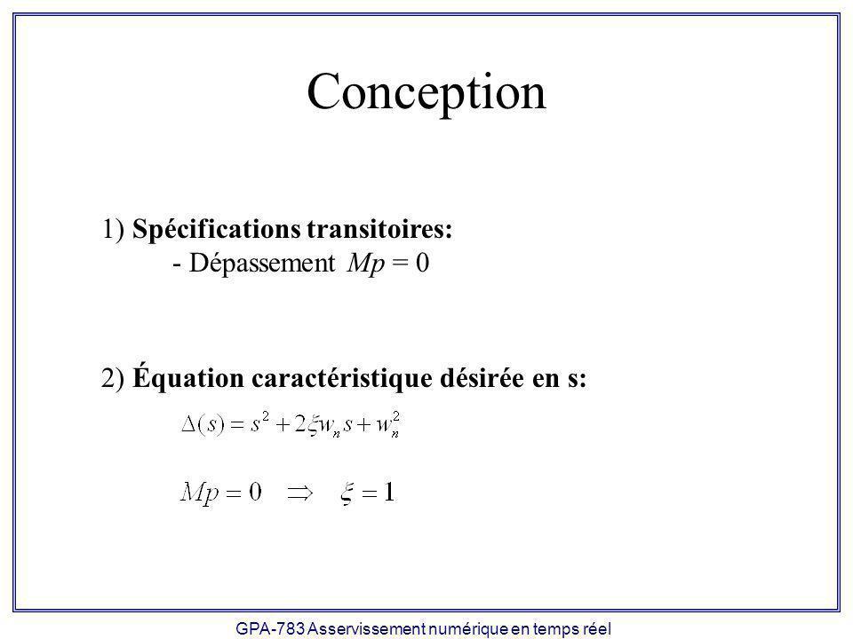 GPA-783 Asservissement numérique en temps réel Conception 1) Spécifications transitoires: - Dépassement Mp = 0 2) Équation caractéristique désirée en