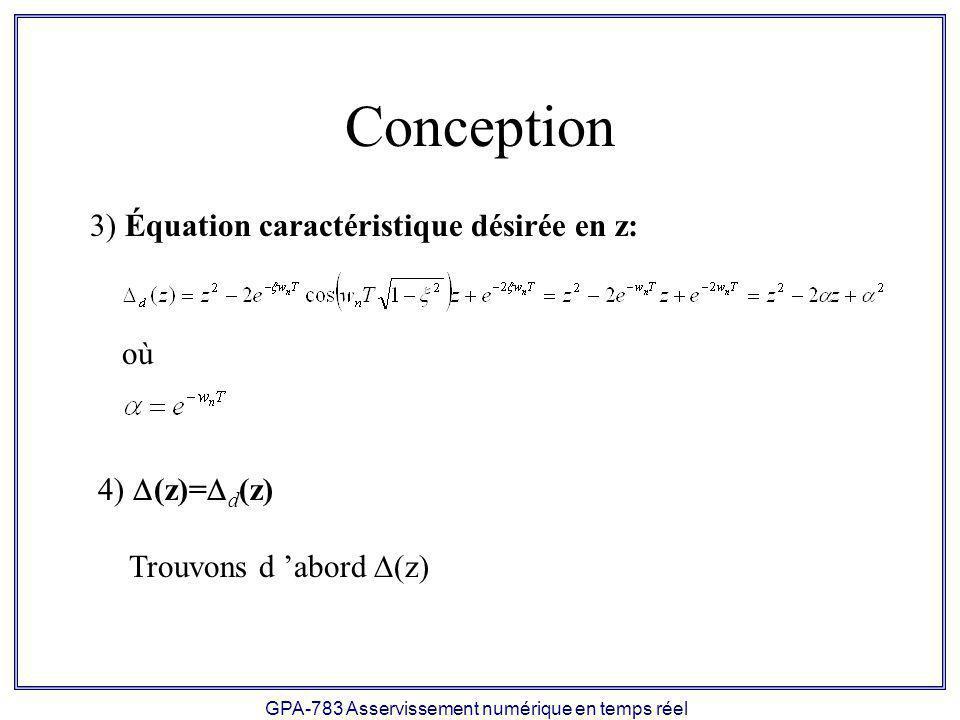 GPA-783 Asservissement numérique en temps réel Conception où 3) Équation caractéristique désirée en z: 4) (z)= d (z) Trouvons d abord (z)