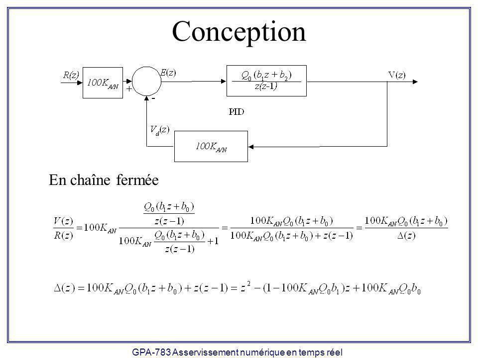 GPA-783 Asservissement numérique en temps réel Conception En chaîne fermée