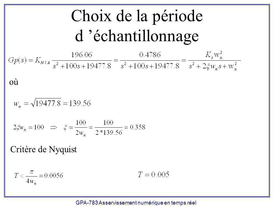GPA-783 Asservissement numérique en temps réel Conception 1) Spécifications transitoires: - Dépassement Mp = 0 2) Équation caractéristique désirée en s: