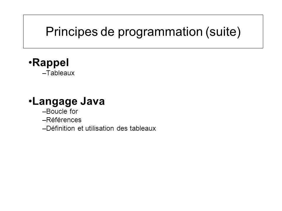 Principes de programmation (suite) Rappel –Tableaux Langage Java –Boucle for –Références –Définition et utilisation des tableaux