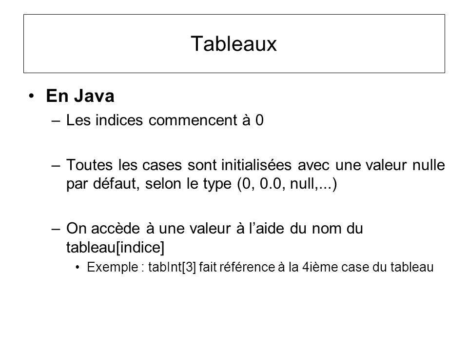 Tableaux En Java –Les indices commencent à 0 –Toutes les cases sont initialisées avec une valeur nulle par défaut, selon le type (0, 0.0, null,...) –O