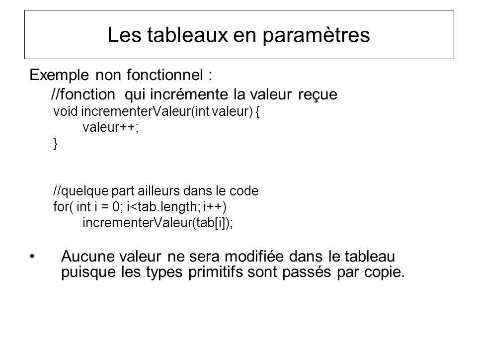 Les tableaux en paramètres Exemple non fonctionnel : //fonction qui incrémente la valeur reçue void incrementerValeur(int valeur) { valeur++; } //quel