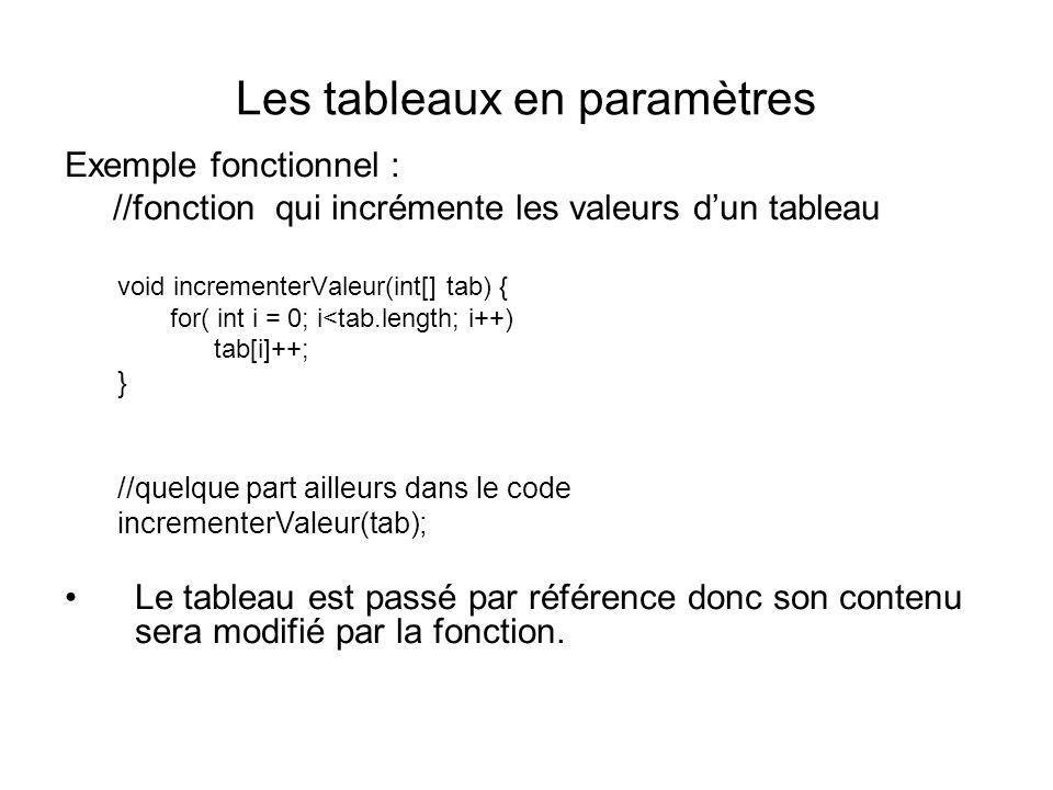 Les tableaux en paramètres Exemple fonctionnel : //fonction qui incrémente les valeurs dun tableau void incrementerValeur(int[] tab) { for( int i = 0;