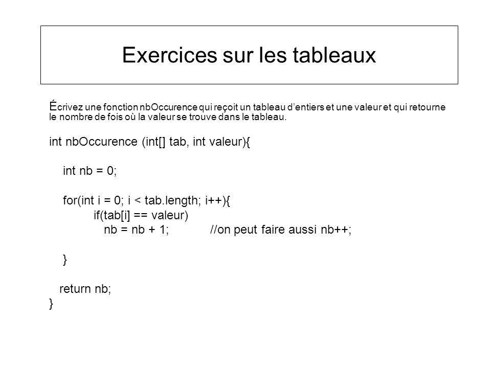 Exercices sur les tableaux É crivez une fonction nbOccurence qui reçoit un tableau dentiers et une valeur et qui retourne le nombre de fois où la vale