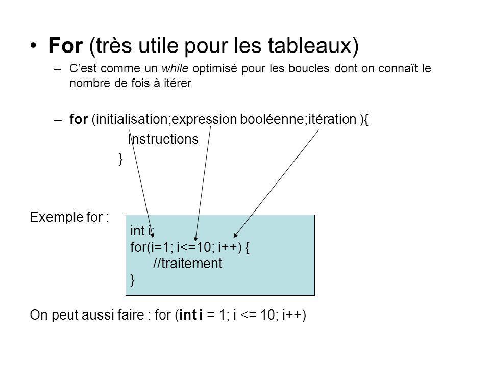 For (très utile pour les tableaux) –Cest comme un while optimisé pour les boucles dont on connaît le nombre de fois à itérer –for (initialisation;expr