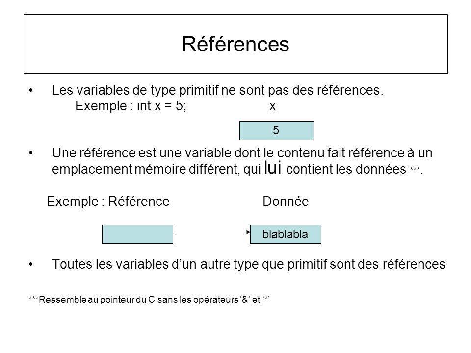 Piège sur les références-tableau Piège classique char[ ] tabCar1 = {a,l,l,o}; tabCar1 0 1 2 3 tabCar2 char[ ] tabCar2 = tabCar1; tabCar2[0] = t; Si on veux travailler sur une copie il faut faire –char [ ] tabCar2 = tabCar1.clone(); allo tllo