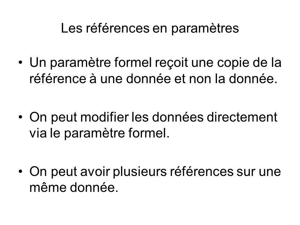 Les références en paramètres Un paramètre formel reçoit une copie de la référence à une donnée et non la donnée. On peut modifier les données directem