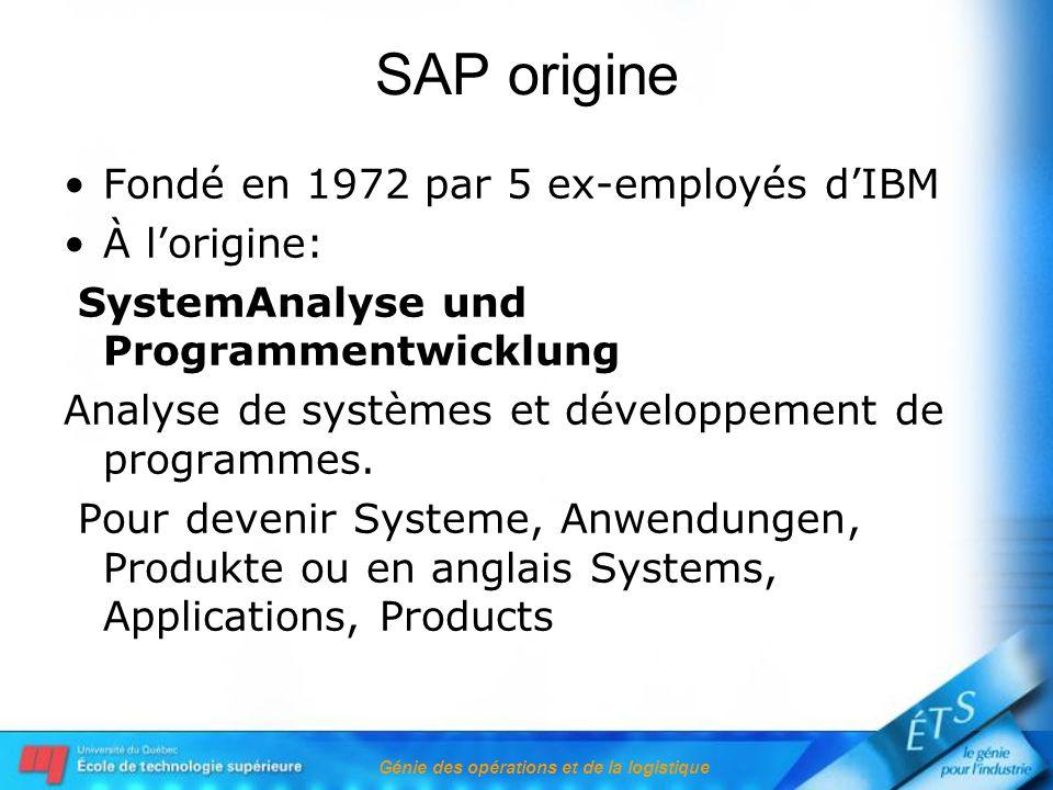 Génie des opérations et de la logistique SAP origine Fondé en 1972 par 5 ex-employés dIBM À lorigine: SystemAnalyse und Programmentwicklung Analyse de systèmes et développement de programmes.