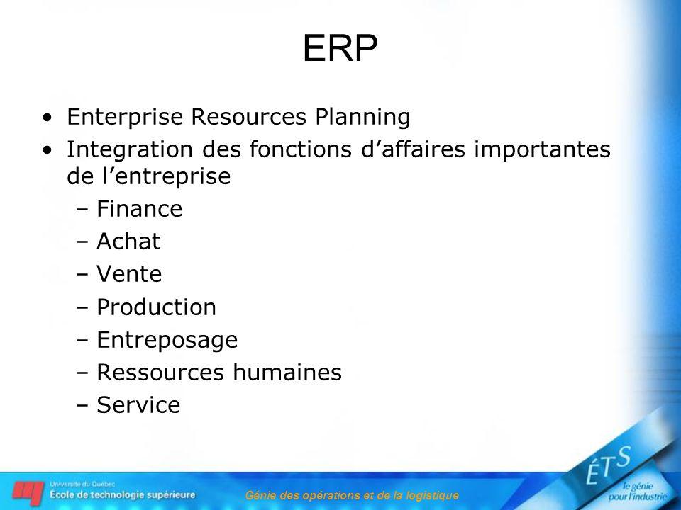 Génie des opérations et de la logistique ERP Enterprise Resources Planning Integration des fonctions daffaires importantes de lentreprise –Finance –Achat –Vente –Production –Entreposage –Ressources humaines –Service