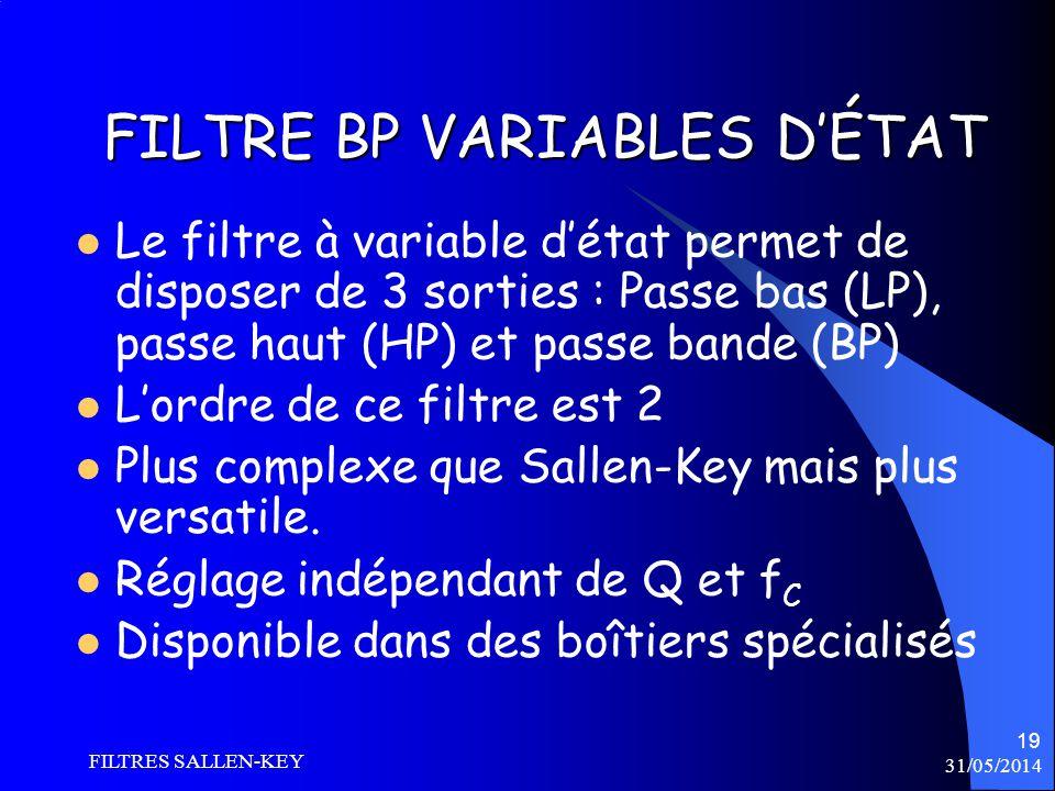 31/05/2014 FILTRES SALLEN-KEY 19 FILTRE BP VARIABLES DÉTAT Le filtre à variable détat permet de disposer de 3 sorties : Passe bas (LP), passe haut (HP) et passe bande (BP) Lordre de ce filtre est 2 Plus complexe que Sallen-Key mais plus versatile.