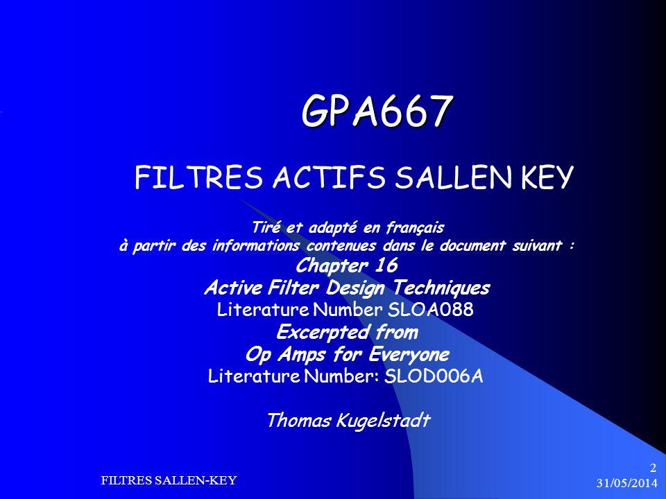 31/05/2014 FILTRES SALLEN-KEY 2 GPA667 Tiré et adapté en français à partir des informations contenues dans le document suivant : Chapter 16 Active Fil