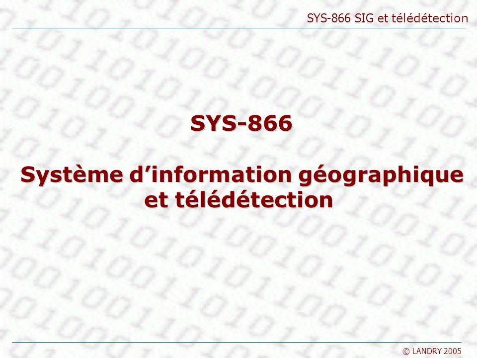 SYS-866 SIG et télédétection © LANDRY 2005 Le contenu des SIG Les composants dun SIG sont les suivants : le matériel (hardware) les personnes le logiciel (software) les institutions les réseaux (netware) … et bien entendu les données Les SIG