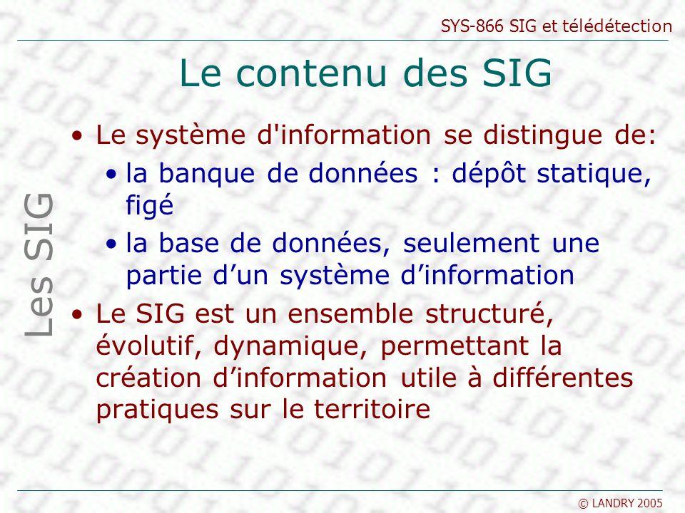 SYS-866 SIG et télédétection © LANDRY 2005 Le contenu des SIG Le système d'information se distingue de: la banque de données : dépôt statique, figé la