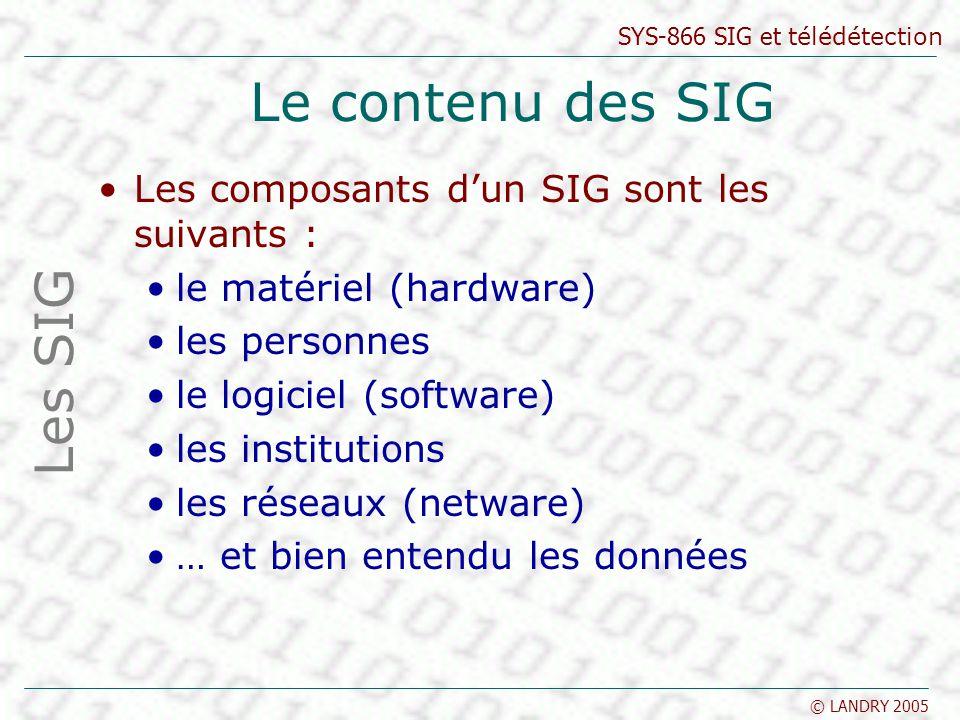 SYS-866 SIG et télédétection © LANDRY 2005 Le contenu des SIG Les composants dun SIG sont les suivants : le matériel (hardware) les personnes le logic