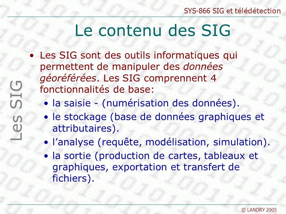 SYS-866 SIG et télédétection © LANDRY 2005 Le contenu des SIG Les SIG sont des outils informatiques qui permettent de manipuler des données géoréférée