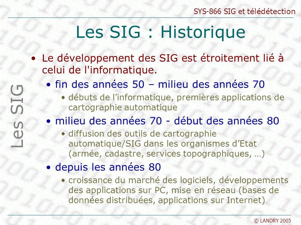 SYS-866 SIG et télédétection © LANDRY 2005 Les SIG : Historique Le développement des SIG est étroitement lié à celui de l'informatique. fin des années