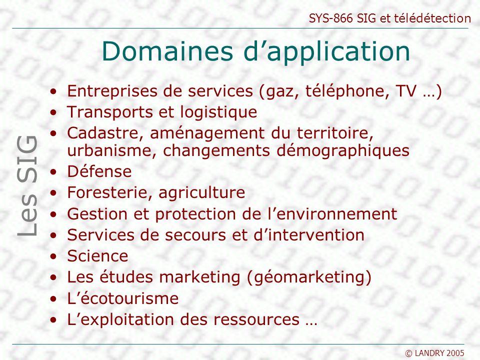 SYS-866 SIG et télédétection © LANDRY 2005 Domaines dapplication Entreprises de services (gaz, téléphone, TV …) Transports et logistique Cadastre, amé