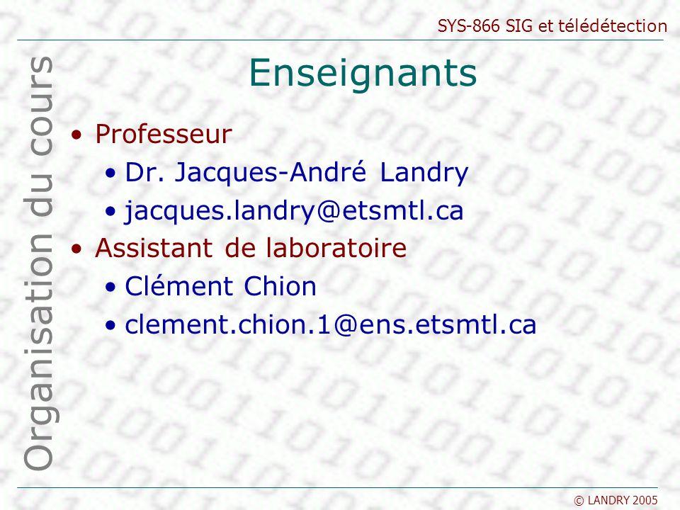SYS-866 SIG et télédétection © LANDRY 2005 Enseignants Professeur Dr. Jacques-André Landry jacques.landry@etsmtl.ca Assistant de laboratoire Clément C