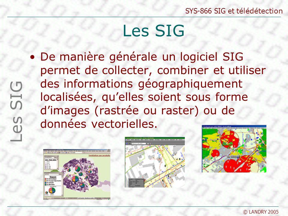 SYS-866 SIG et télédétection © LANDRY 2005 Les SIG De manière générale un logiciel SIG permet de collecter, combiner et utiliser des informations géog