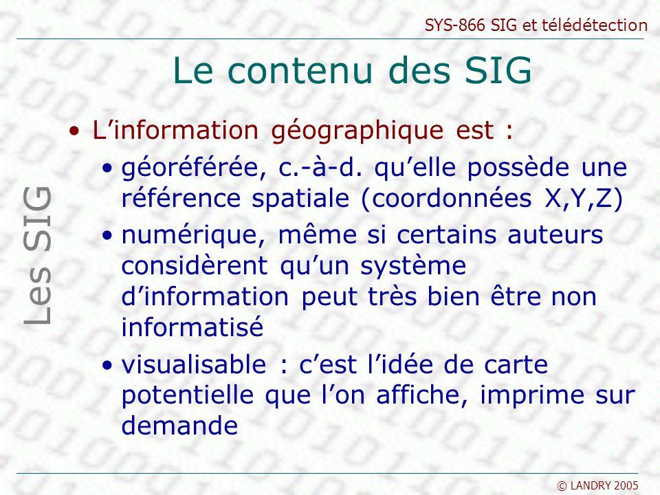 SYS-866 SIG et télédétection © LANDRY 2005 Le contenu des SIG Linformation géographique est : géoréférée, c.-à-d. quelle possède une référence spatial