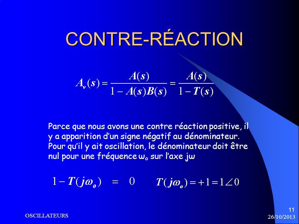 26/10/2013 OSCILLATEURS 11 CONTRE-RÉACTION Parce que nous avons une contre réaction positive, il y a apparition dun signe négatif au dénominateur. Pou