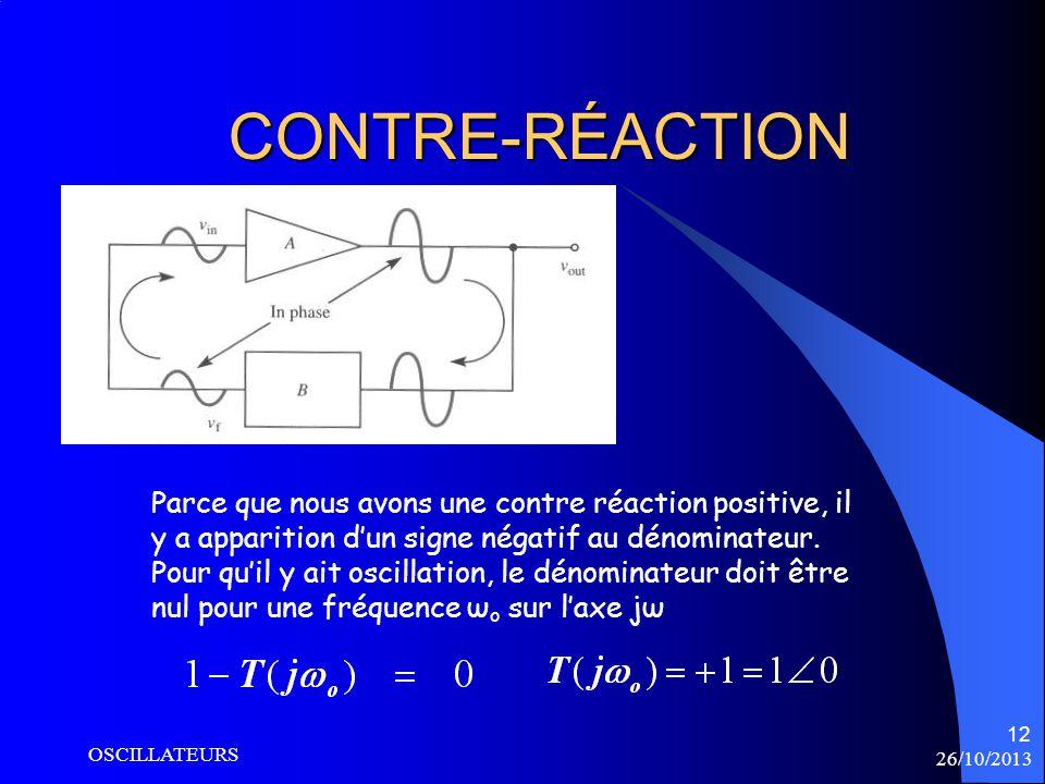 26/10/2013 OSCILLATEURS 12 CONTRE-RÉACTION Parce que nous avons une contre réaction positive, il y a apparition dun signe négatif au dénominateur. Pou