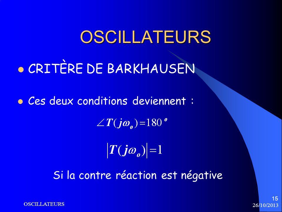 26/10/2013 OSCILLATEURS 15 OSCILLATEURS CRITÈRE DE BARKHAUSEN Ces deux conditions deviennent : Si la contre réaction est négative