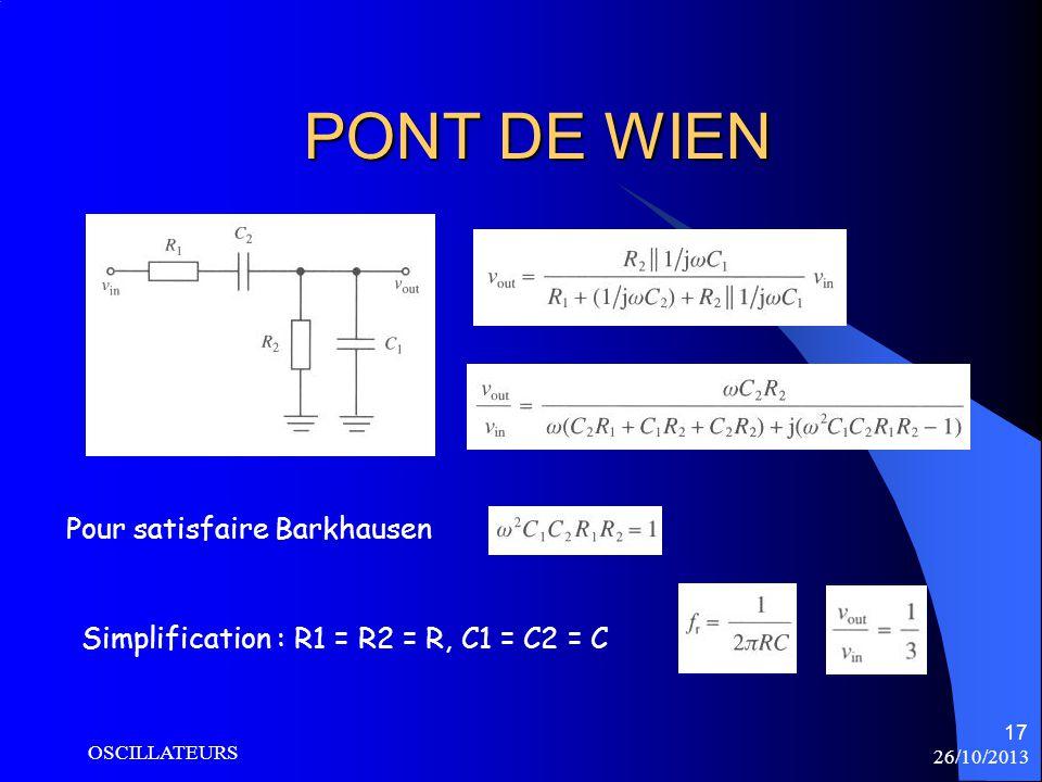 26/10/2013 OSCILLATEURS 17 PONT DE WIEN Simplification : R1 = R2 = R, C1 = C2 = C Pour satisfaire Barkhausen