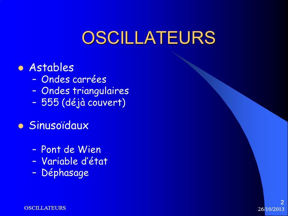 26/10/2013 OSCILLATEURS 2 OSCILLATEURS Astables –Ondes carrées –Ondes triangulaires –555 (déjà couvert) Sinusoïdaux –Pont de Wien –Variable détat –Dép