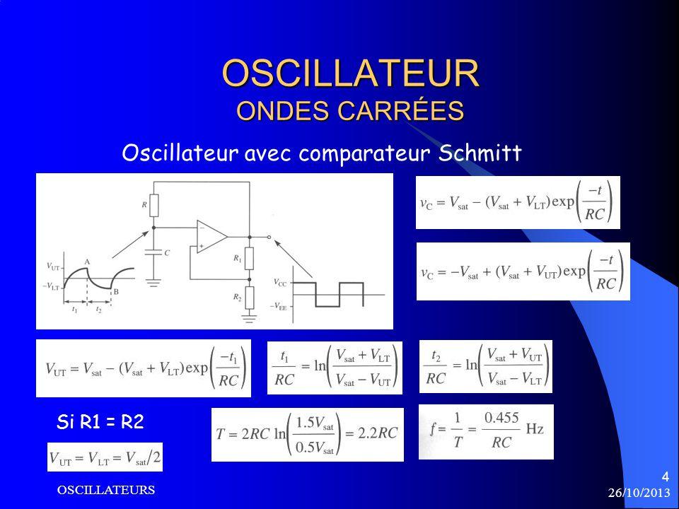 26/10/2013 OSCILLATEURS 4 OSCILLATEUR ONDES CARRÉES Oscillateur avec comparateur Schmitt Si R1 = R2