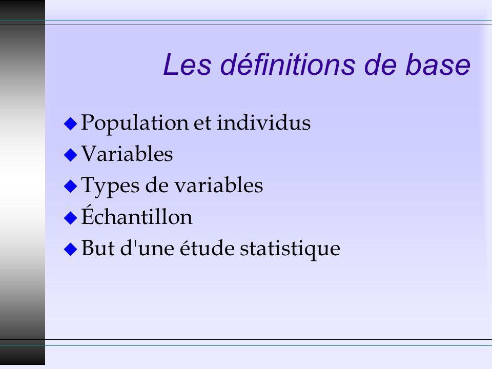 Les définitions de base u Population et individus u Variables u Types de variables u Échantillon u But d'une étude statistique