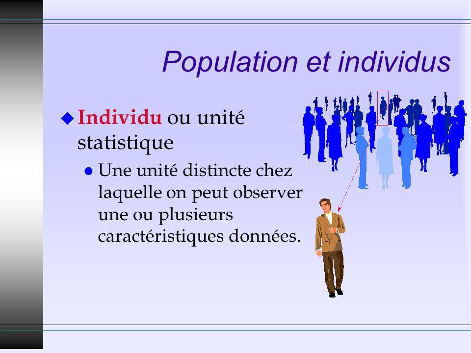 Population et individus u Individu ou unité statistique l Une unité distincte chez laquelle on peut observer une ou plusieurs caractéristiques données