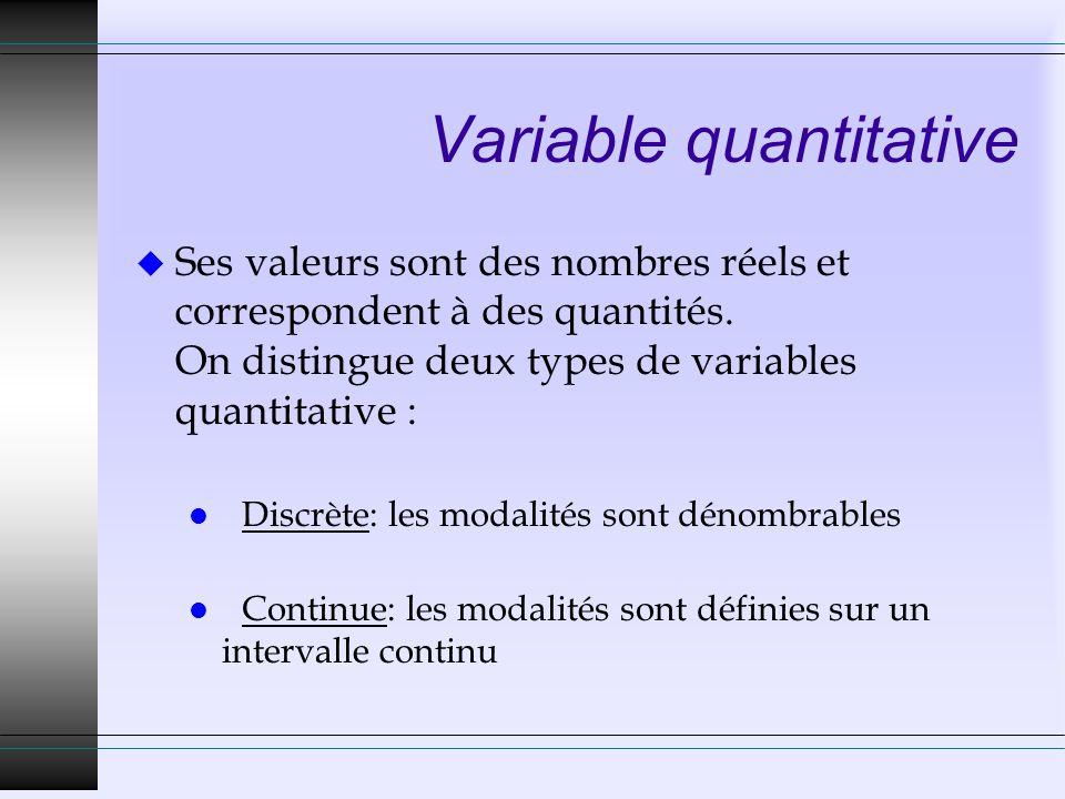 Variable quantitative u Ses valeurs sont des nombres réels et correspondent à des quantités. On distingue deux types de variables quantitative : l Dis