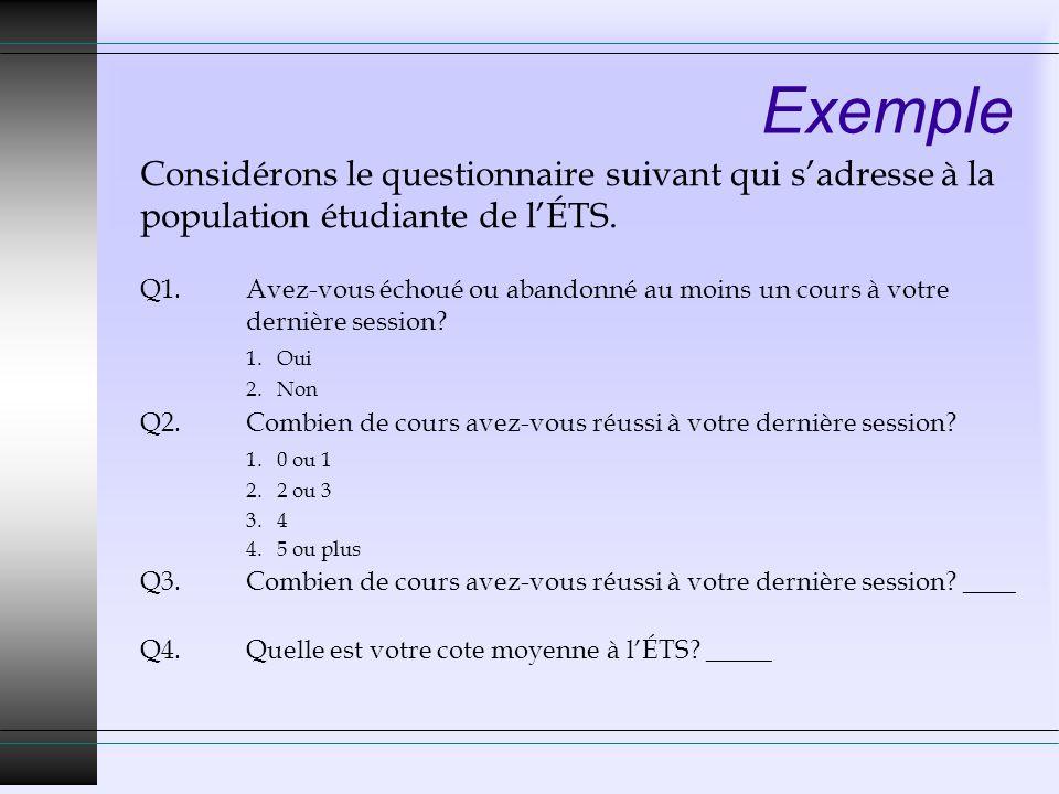 Exemple Considérons le questionnaire suivant qui sadresse à la population étudiante de lÉTS.