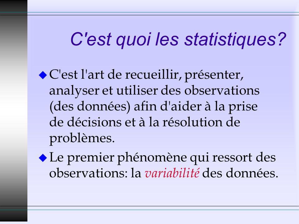C'est quoi les statistiques? u C'est l'art de recueillir, présenter, analyser et utiliser des observations (des données) afin d'aider à la prise de dé