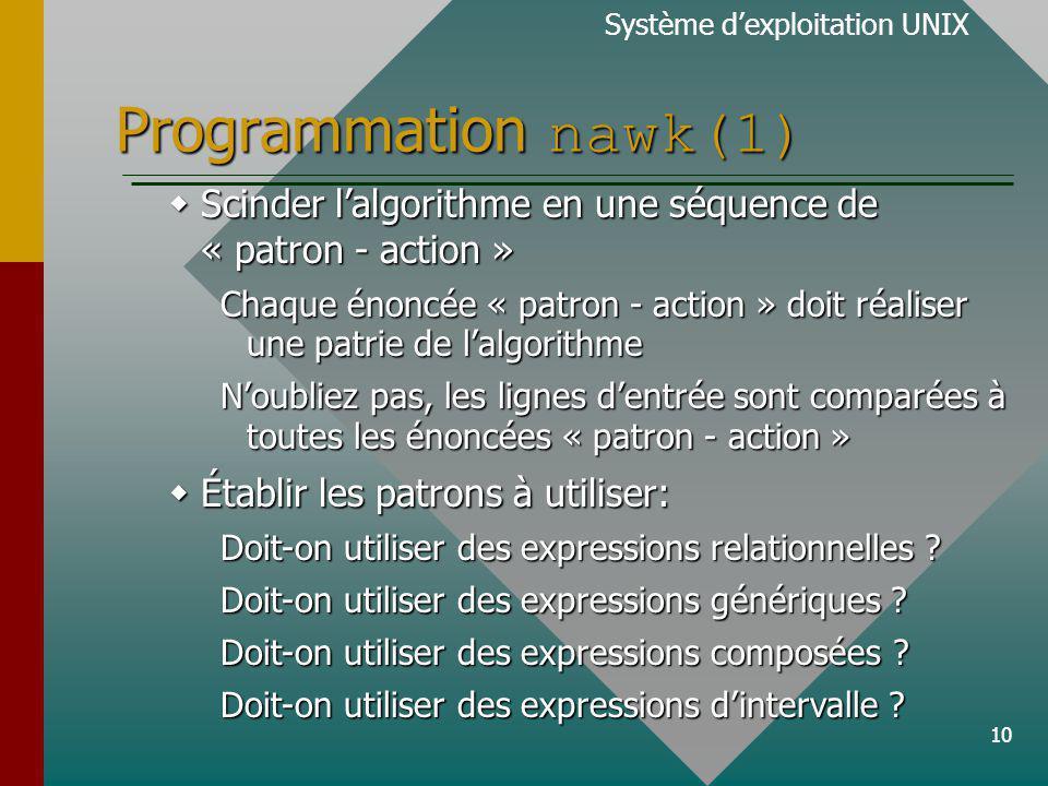 10 Programmation nawk(1) Système dexploitation UNIX Scinder lalgorithme en une séquence de « patron - action » Scinder lalgorithme en une séquence de « patron - action » Chaque énoncée « patron - action » doit réaliser une patrie de lalgorithme Noubliez pas, les lignes dentrée sont comparées à toutes les énoncées « patron - action » Établir les patrons à utiliser: Établir les patrons à utiliser: Doit-on utiliser des expressions relationnelles .