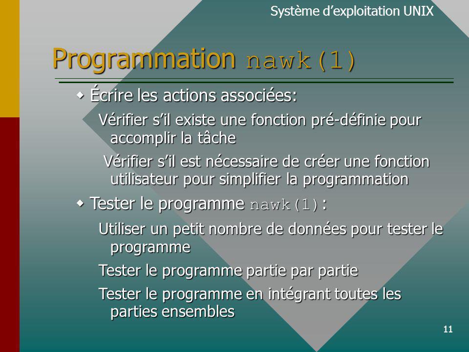 11 Programmation nawk(1) Écrire les actions associées: Écrire les actions associées: Vérifier sil existe une fonction pré-définie pour accomplir la tâche Vérifier sil est nécessaire de créer une fonction utilisateur pour simplifier la programmation Vérifier sil est nécessaire de créer une fonction utilisateur pour simplifier la programmation Tester le programme nawk(1) : Tester le programme nawk(1) : Utiliser un petit nombre de données pour tester le programme Tester le programme partie par partie Tester le programme en intégrant toutes les parties ensembles Système dexploitation UNIX