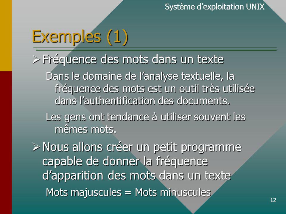 12 Exemples (1) Fréquence des mots dans un texte Fréquence des mots dans un texte Dans le domaine de lanalyse textuelle, la fréquence des mots est un outil très utilisée dans lauthentification des documents.
