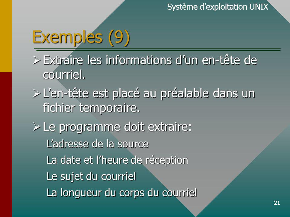 22 Exemples (10) Système dexploitation UNIX From wong@exa.gpa.etsmtl.ca Fri Mar 17 15:51 EST 2000 X-UIDL: f8d17591aadd380945dc16c5f506b9f7 Received: from gpa.etsmtl.ca (tony [142.137.41.54]) by exa.gpa.etsmtl.ca (8.9.1a/8.9.1) with ESMTP id PAA04884 for ; Fri, 17 Mar 2000 15:51:43 -0500 (EST) Message-ID: Message-ID: Date: Fri, 17 Mar 2000 15:57:28 -0500 From: Tony Wong From: Tony Wong ::: MIME-Version: 1.0 To: Tony Wong To: Tony Wong Subject: TEST 1 Content-Transfer-Encoding: 8bit Content-Type: text/plain; charset=iso-8859-1 Content-Length: 366 Status: U Ces informations sont à extraire par notre programme.