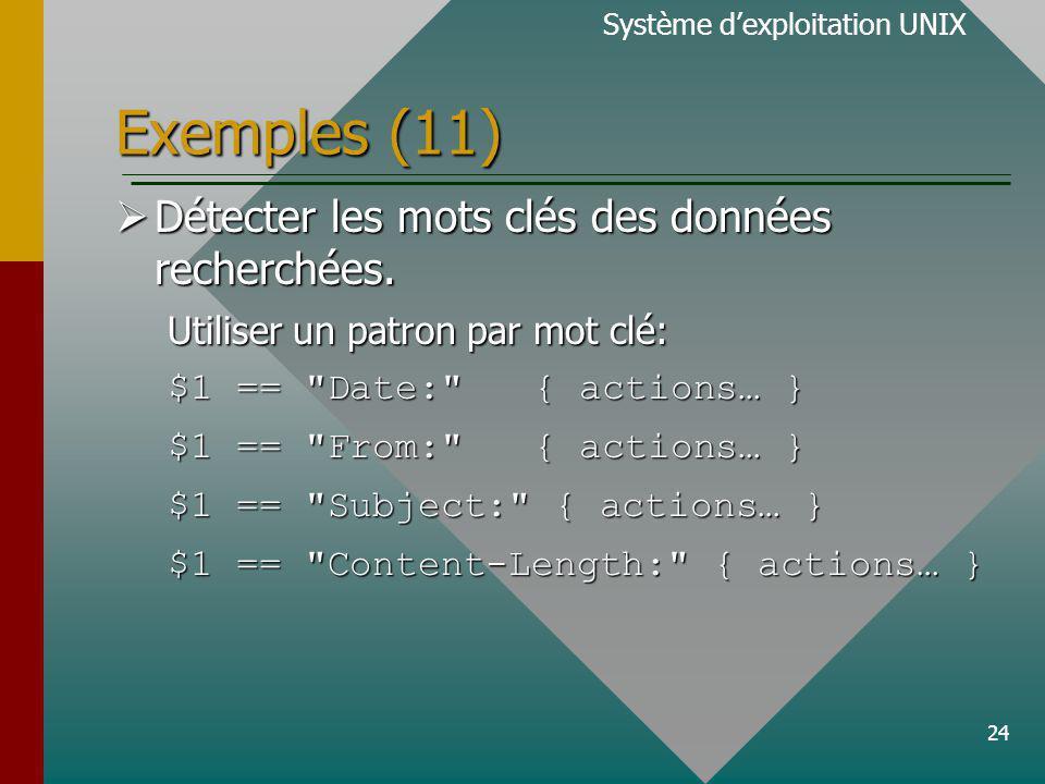 24 Exemples (11) Système dexploitation UNIX Détecter les mots clés des données recherchées.