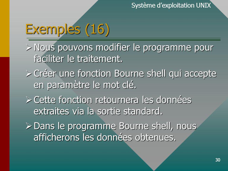 30 Exemples (16) Système dexploitation UNIX Nous pouvons modifier le programme pour faciliter le traitement.