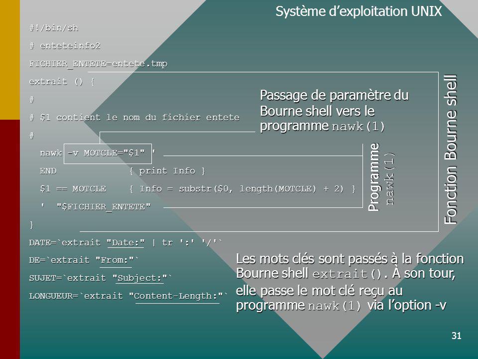 31 Système dexploitation UNIX#!/bin/sh # enteteinfo2 FICHIER_ENTETE=entete.tmp extrait () { # # $1 contient le nom du fichier entete # nawk -v MOTCLE= $1 nawk -v MOTCLE= $1 END { print Info } END { print Info } $1 == MOTCLE { Info = substr($0, length(MOTCLE) + 2) } $1 == MOTCLE { Info = substr($0, length(MOTCLE) + 2) } $FICHIER_ENTETE $FICHIER_ENTETE } DATE=`extrait Date: | tr : / ` DE=`extrait From: ` SUJET=`extrait Subject: ` LONGUEUR=`extrait Content-Length: ` Fonction Bourne shell Programme nawk(1) Passage de paramètre du Bourne shell vers le programme nawk(1) Les mots clés sont passés à la fonction Bourne shell extrait().