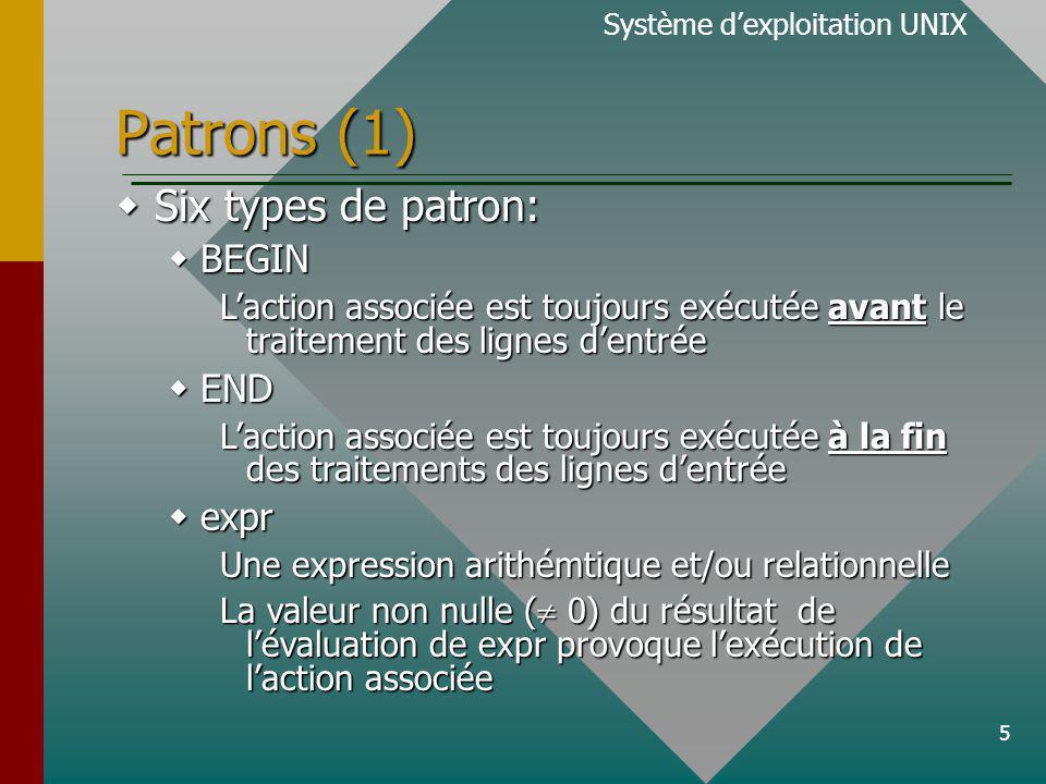 5 Patrons (1) Six types de patron: Six types de patron: BEGIN BEGIN Laction associée est toujours exécutée avant le traitement des lignes dentrée END END Laction associée est toujours exécutée à la fin des traitements des lignes dentrée expr expr Une expression arithémtique et/ou relationnelle La valeur non nulle ( 0) du résultat de lévaluation de expr provoque lexécution de laction associée Système dexploitation UNIX