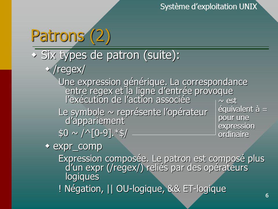 6 Patrons (2) Six types de patron (suite): Six types de patron (suite): /regex/ /regex/ Une expression générique.