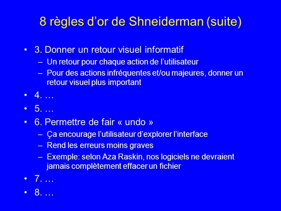 8 règles dor de Shneiderman (suite) 3. Donner un retour visuel informatif –Un retour pour chaque action de lutilisateur –Pour des actions infréquentes