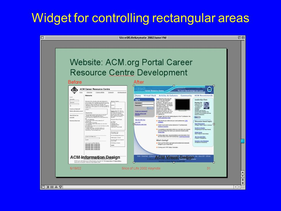 Widget for controlling rectangular areas